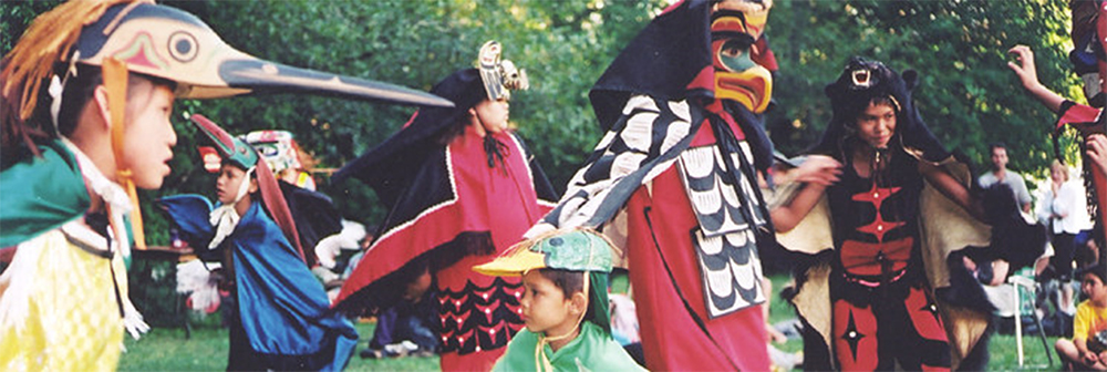 Nuu-chah-nulth children from Haahuupayak School performing the Animal Kingdom traditional dance